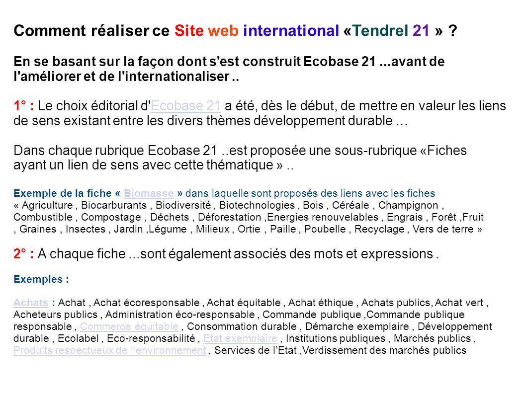 Comment réaliser ce Site web international «Tendrel 21 »