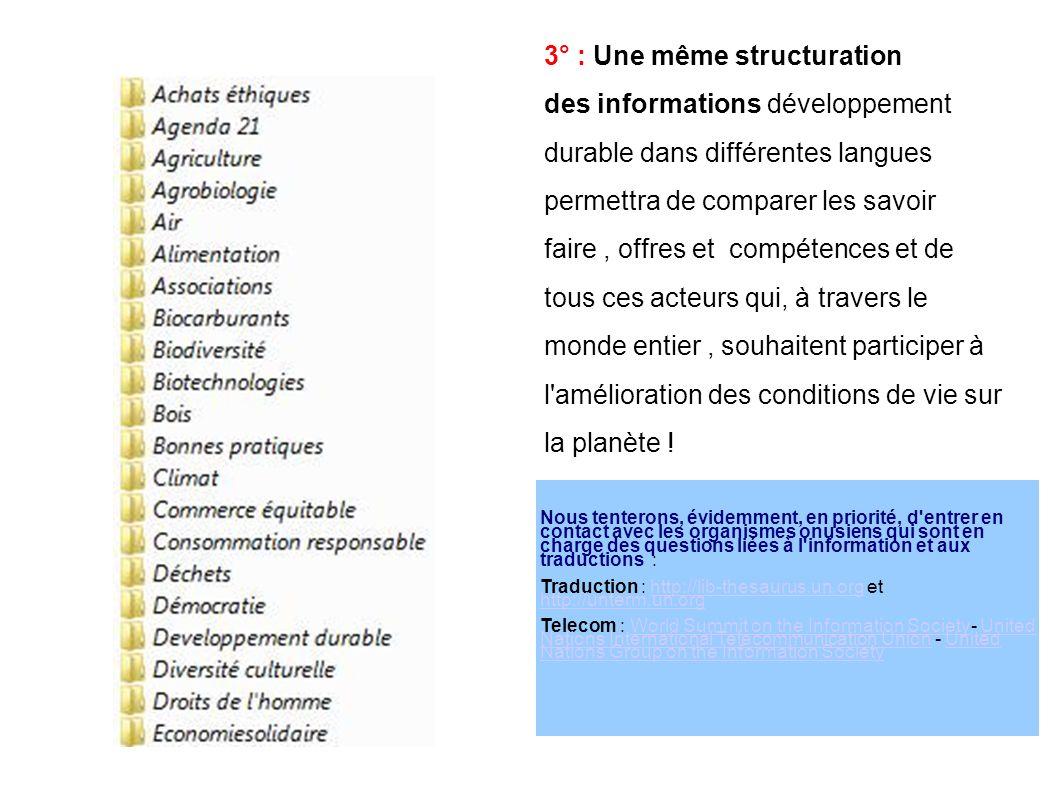 3° : Une même structuration des informations développement