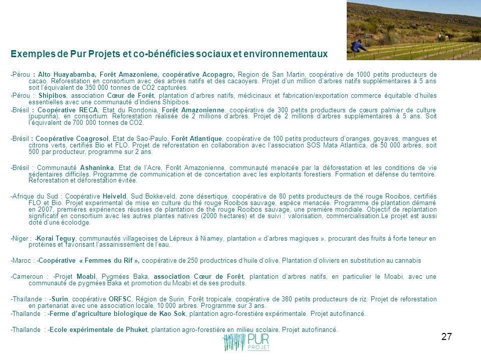 Exemples de Pur Projets et co-bénéficies sociaux et environnementaux