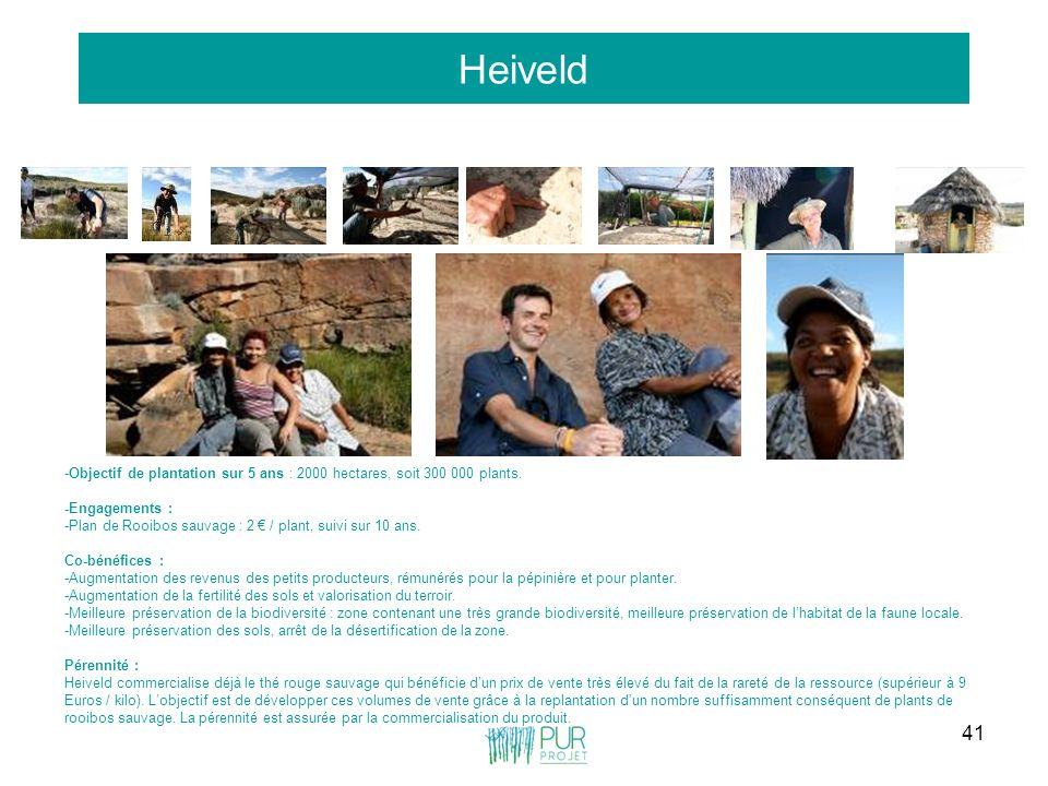 Heiveld -Objectif de plantation sur 5 ans : 2000 hectares, soit 300 000 plants. -Engagements :