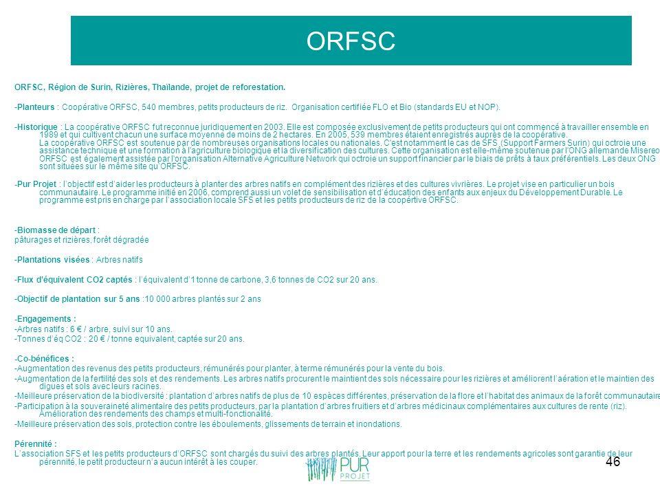 ORFSC ORFSC, Région de Surin, Rizières, Thaïlande, projet de reforestation.