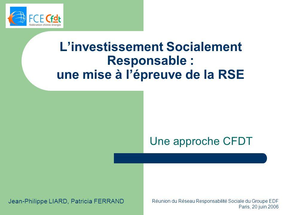 L'investissement Socialement Responsable : une mise à l'épreuve de la RSE
