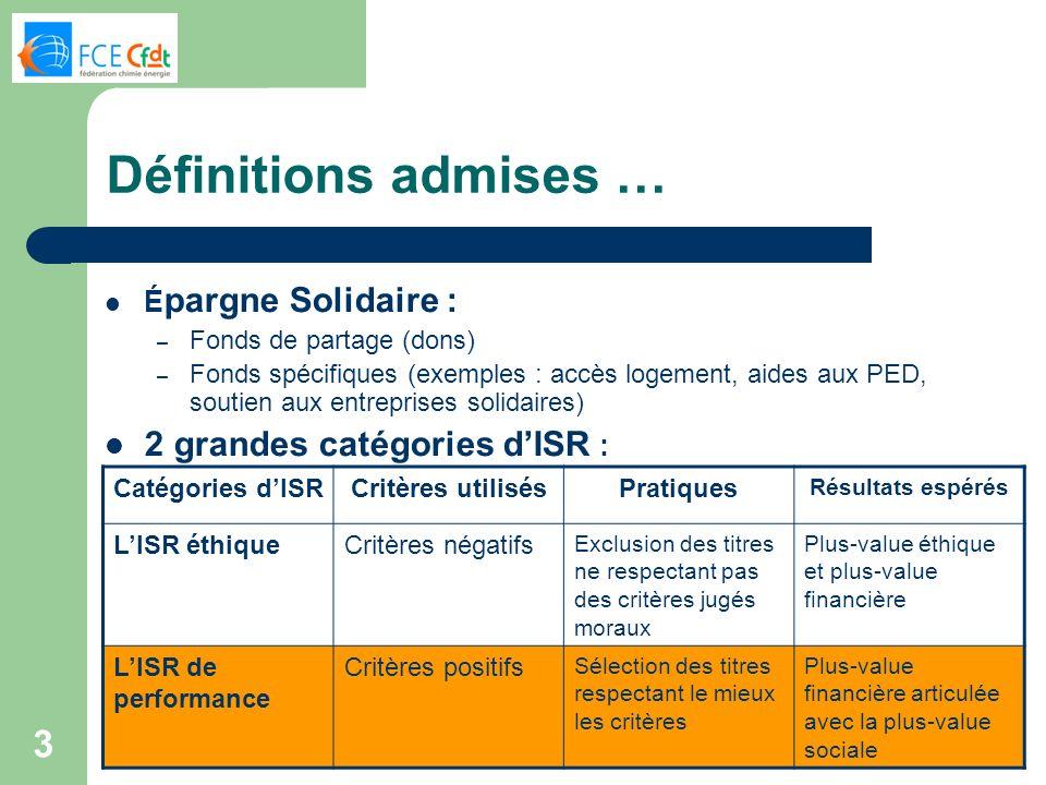 Définitions admises … 2 grandes catégories d'ISR : Épargne Solidaire :