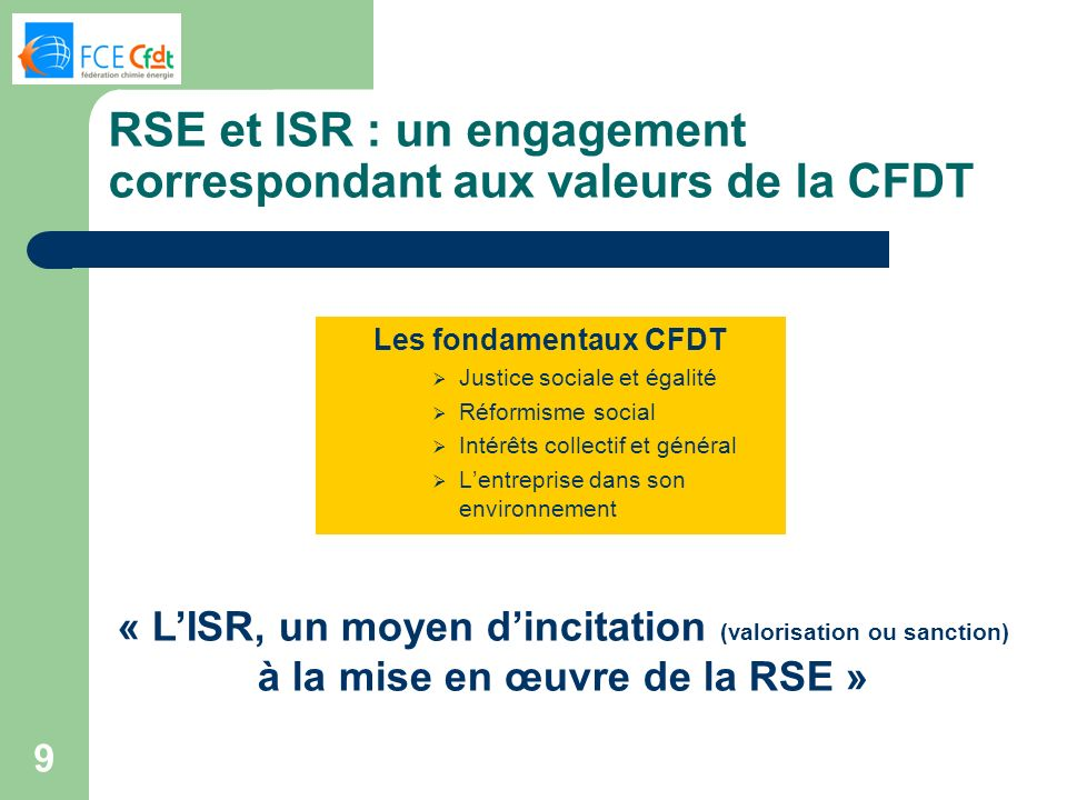 RSE et ISR : un engagement correspondant aux valeurs de la CFDT