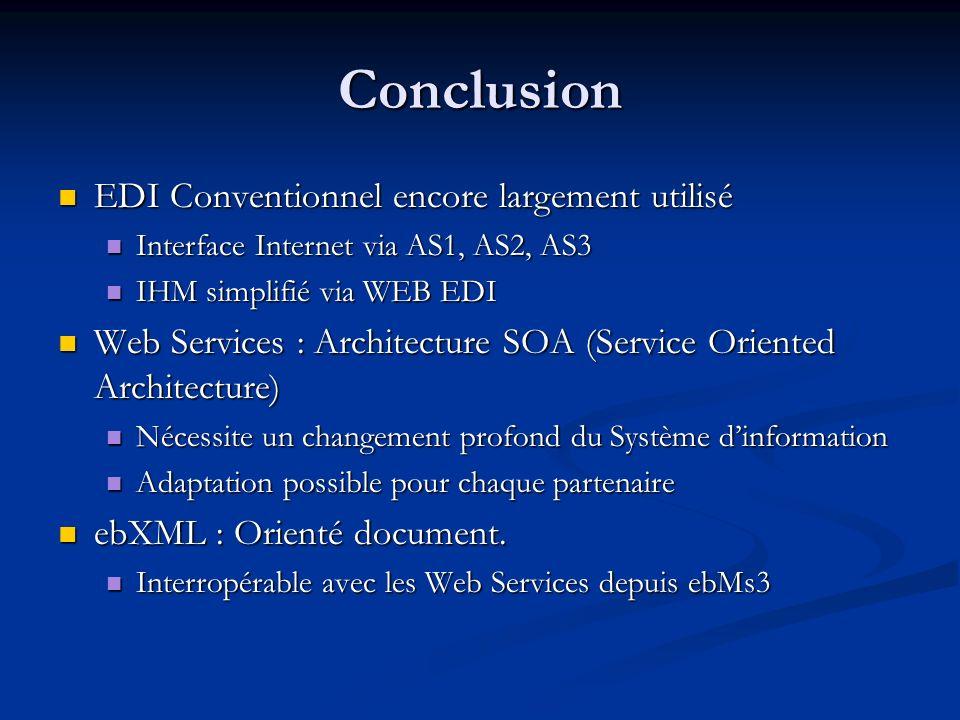 Conclusion EDI Conventionnel encore largement utilisé