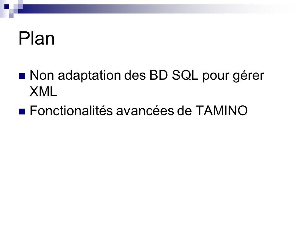 Plan Non adaptation des BD SQL pour gérer XML