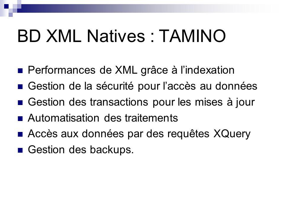 BD XML Natives : TAMINO Performances de XML grâce à l'indexation