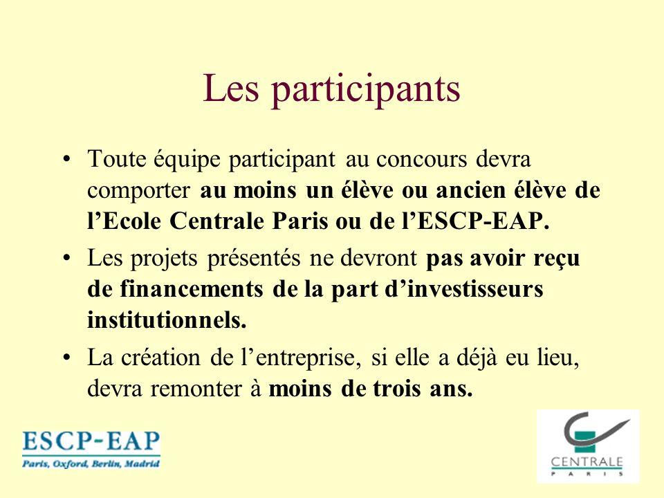 Les participants Toute équipe participant au concours devra comporter au moins un élève ou ancien élève de l'Ecole Centrale Paris ou de l'ESCP-EAP.