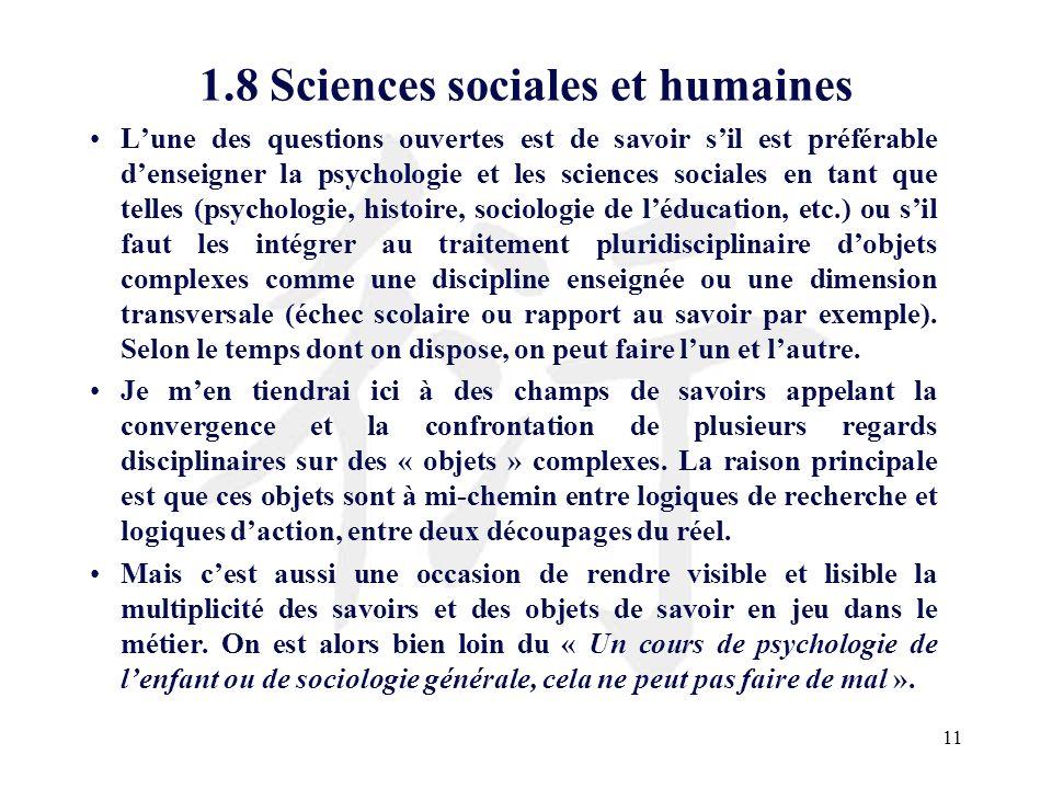 1.8 Sciences sociales et humaines