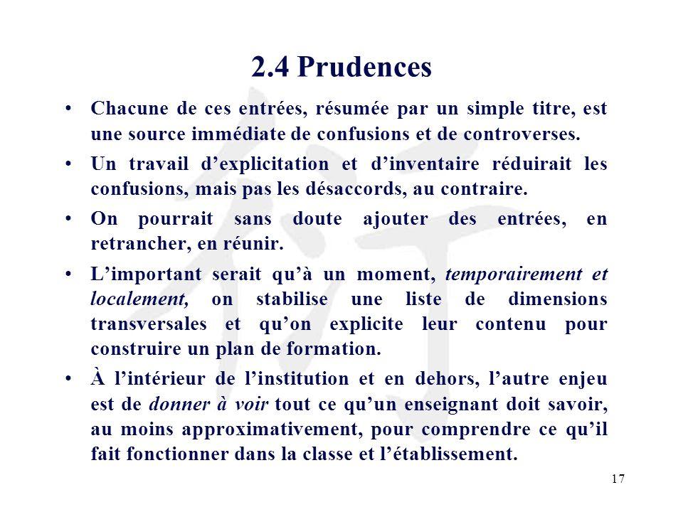 2.4 PrudencesChacune de ces entrées, résumée par un simple titre, est une source immédiate de confusions et de controverses.