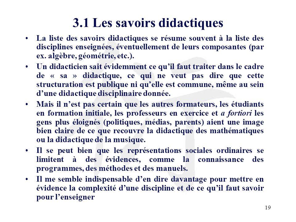 3.1 Les savoirs didactiques