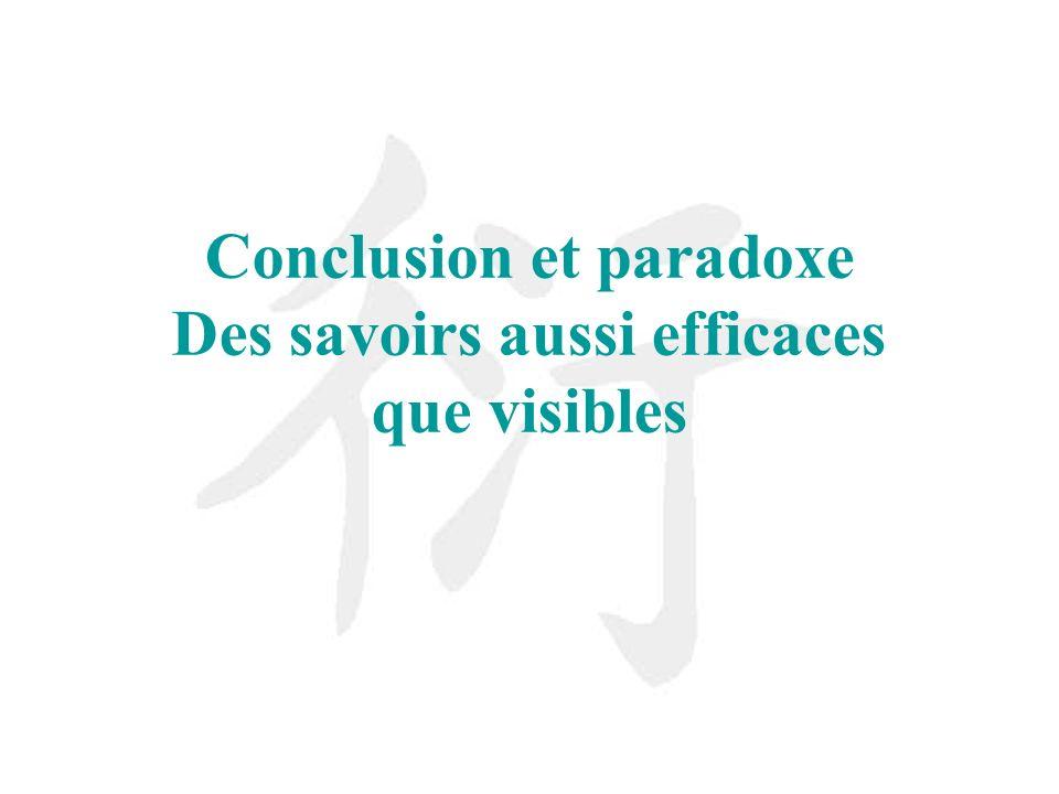 Conclusion et paradoxe Des savoirs aussi efficaces que visibles