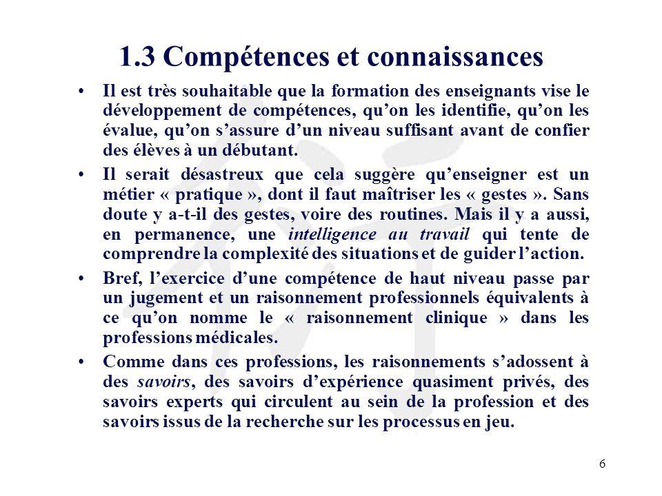 1.3 Compétences et connaissances