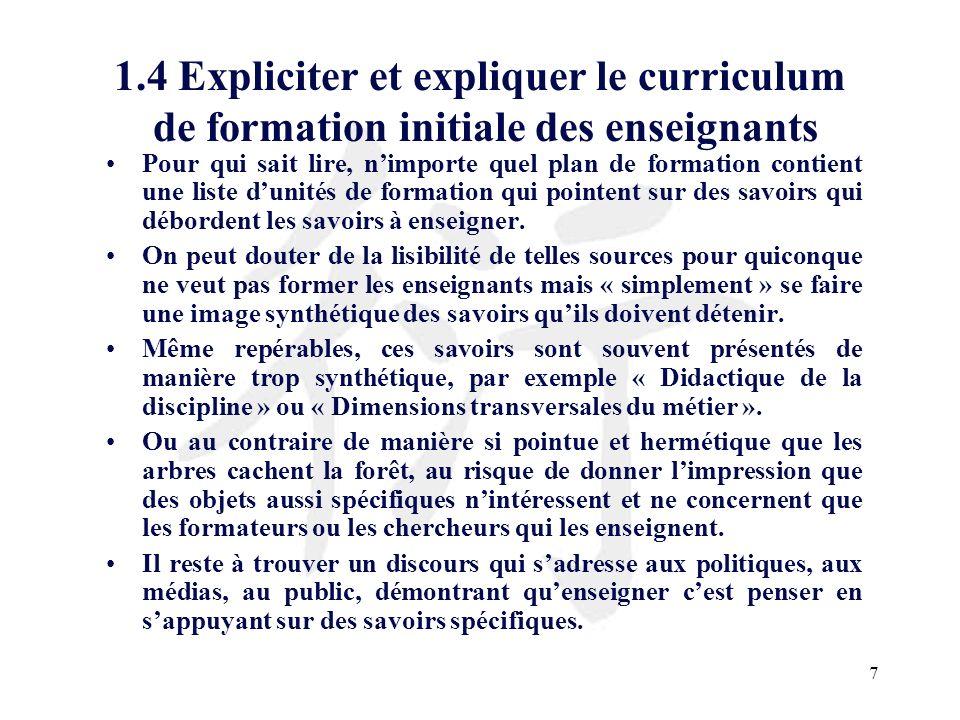 1.4 Expliciter et expliquer le curriculum de formation initiale des enseignants