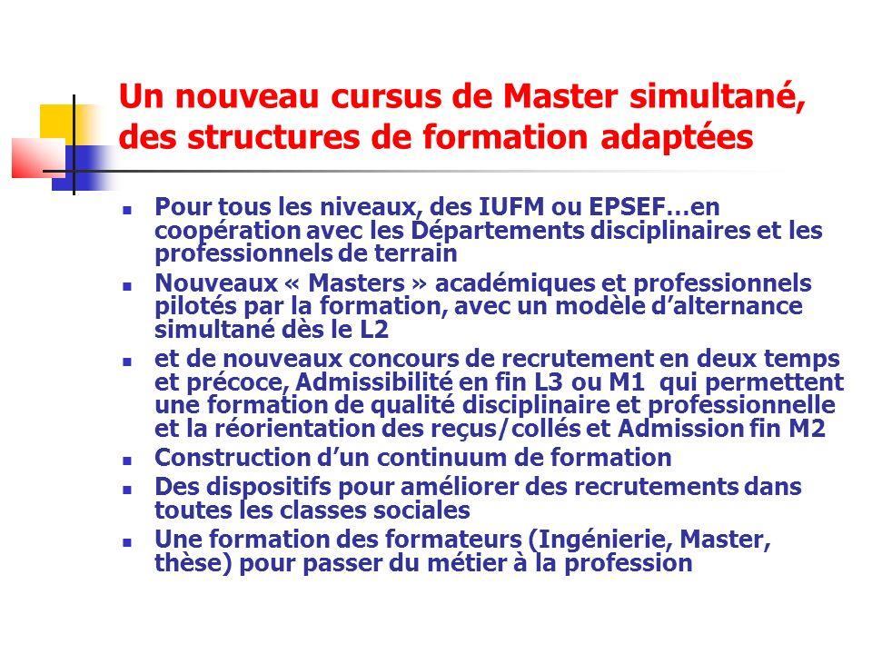 Un nouveau cursus de Master simultané, des structures de formation adaptées