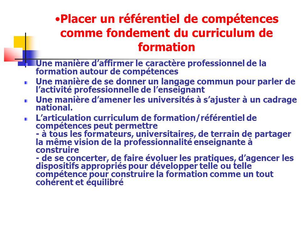 Placer un référentiel de compétences comme fondement du curriculum de formation