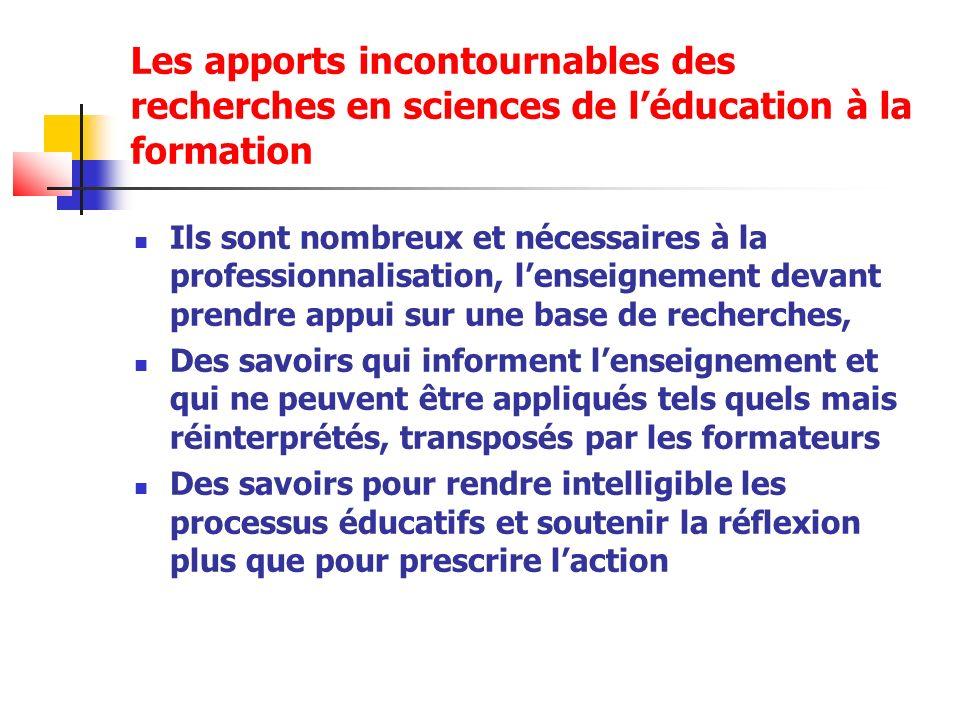Les apports incontournables des recherches en sciences de l'éducation à la formation