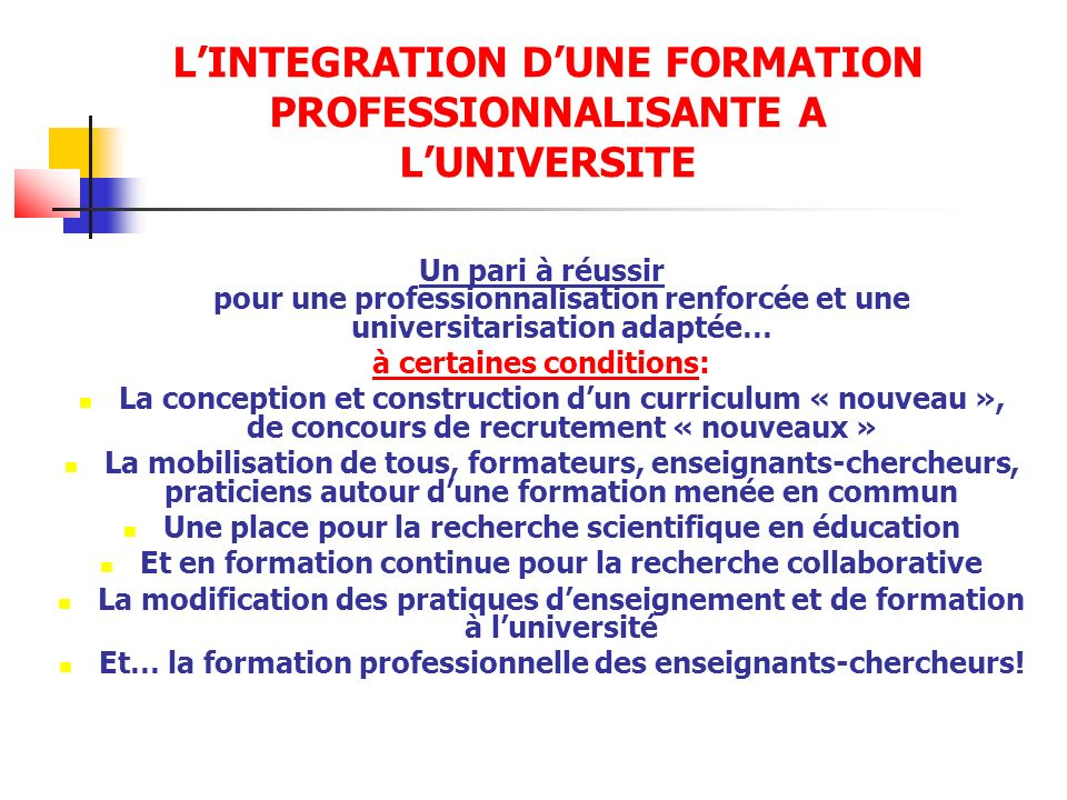 L'INTEGRATION D'UNE FORMATION PROFESSIONNALISANTE A L'UNIVERSITE