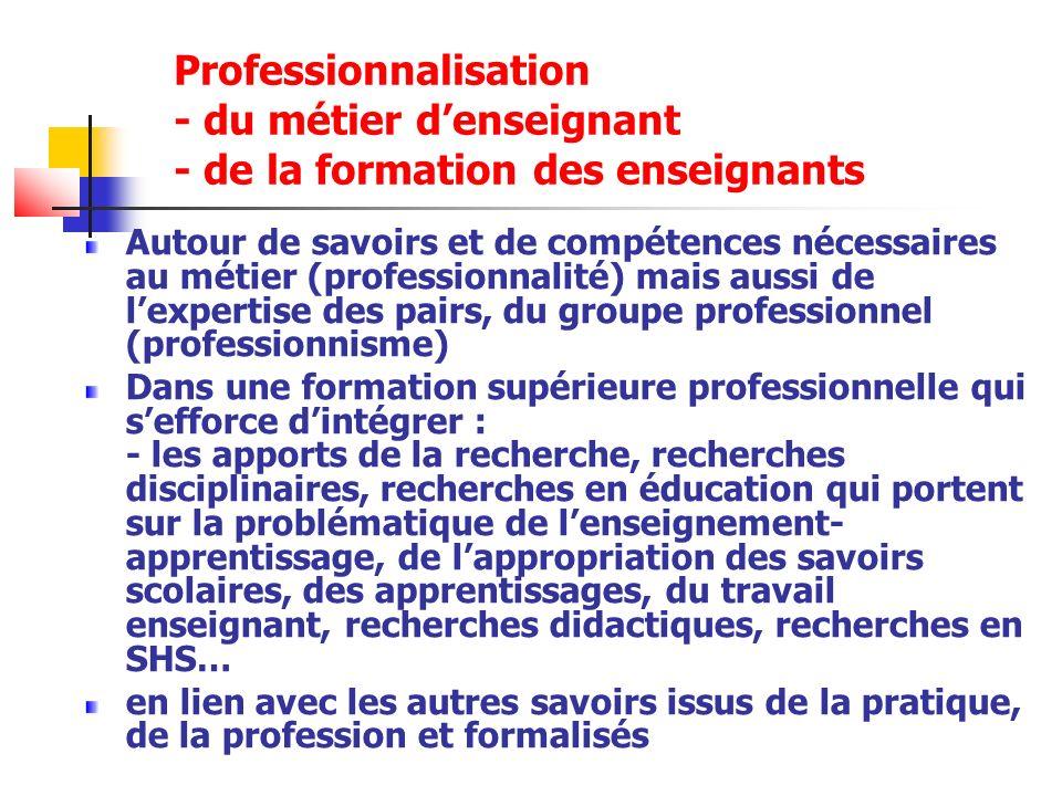 Professionnalisation - du métier d'enseignant - de la formation des enseignants