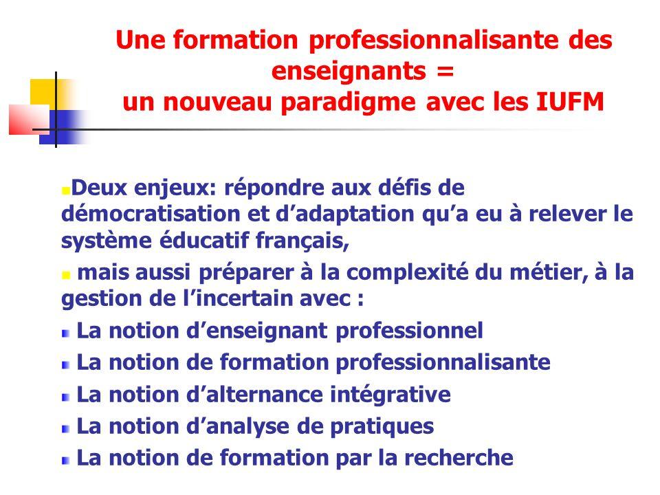 Une formation professionnalisante des enseignants = un nouveau paradigme avec les IUFM