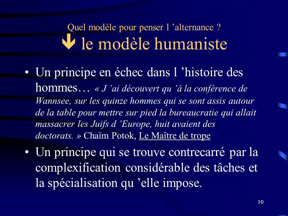 Quel modèle pour penser l 'alternance  le modèle humaniste