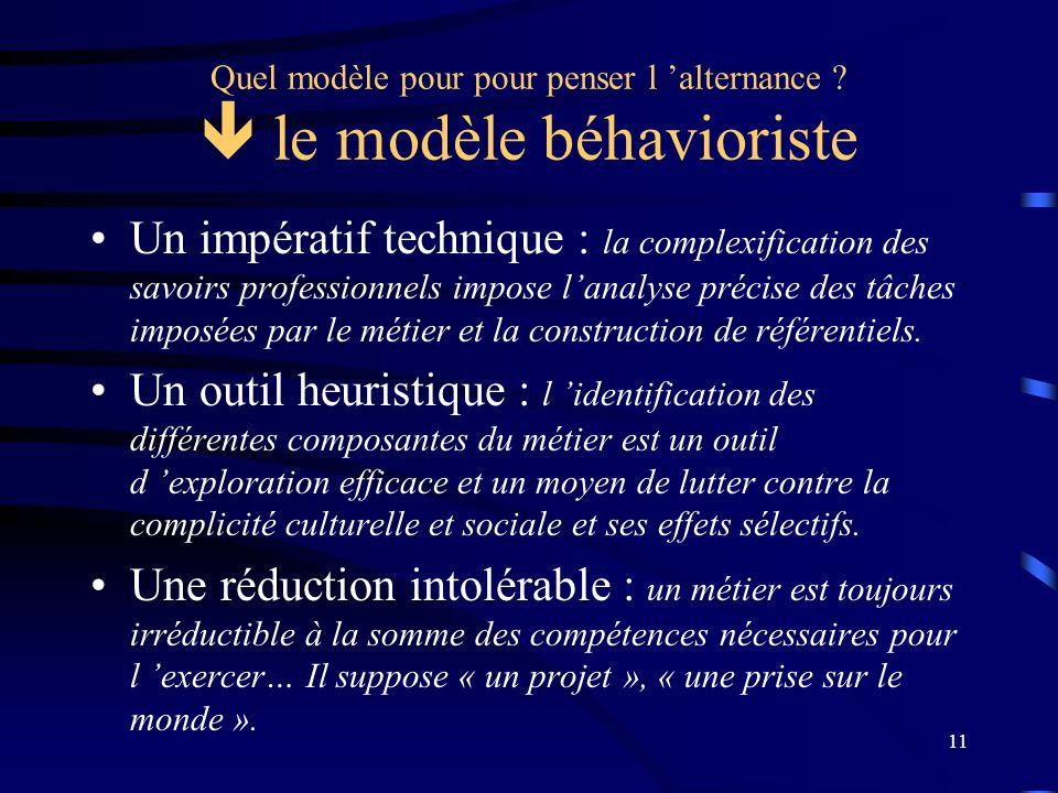 Quel modèle pour pour penser l 'alternance  le modèle béhavioriste