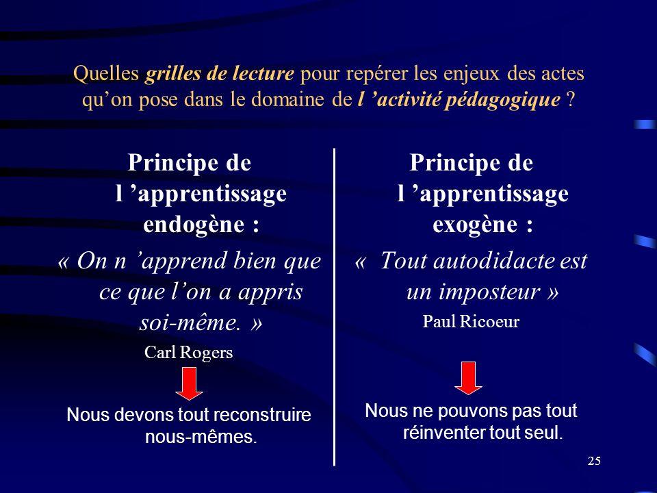 Principe de l 'apprentissage endogène :
