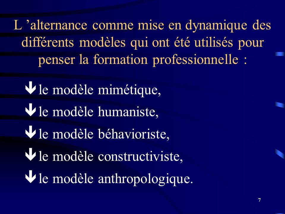 L 'alternance comme mise en dynamique des différents modèles qui ont été utilisés pour penser la formation professionnelle :