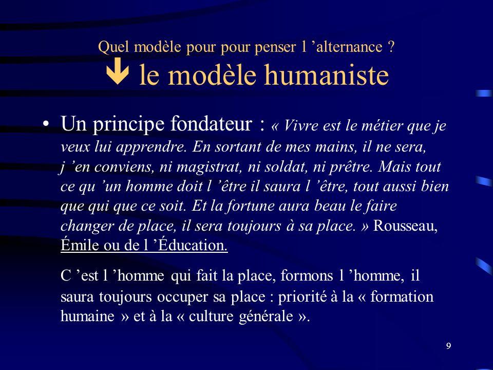 Quel modèle pour pour penser l 'alternance  le modèle humaniste