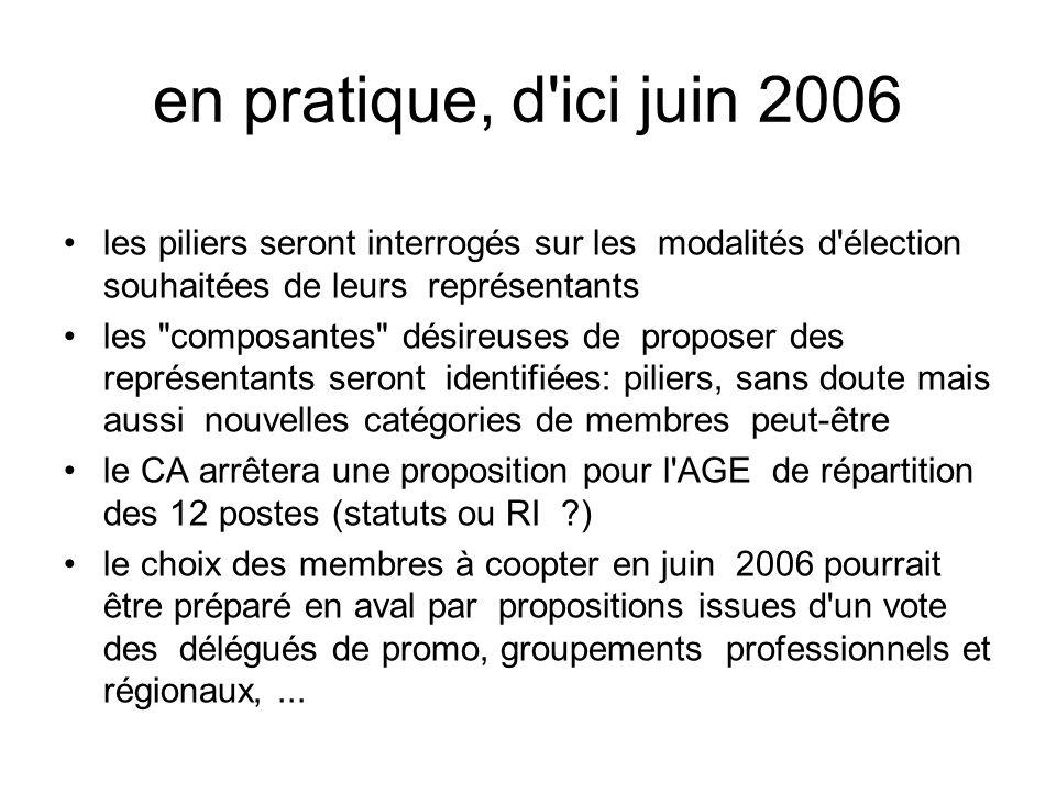en pratique, d ici juin 2006 les piliers seront interrogés sur les modalités d élection souhaitées de leurs représentants.