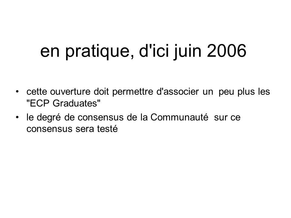 en pratique, d ici juin 2006 cette ouverture doit permettre d associer un peu plus les ECP Graduates