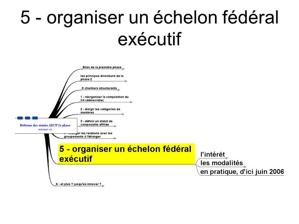 5 - organiser un échelon fédéral exécutif