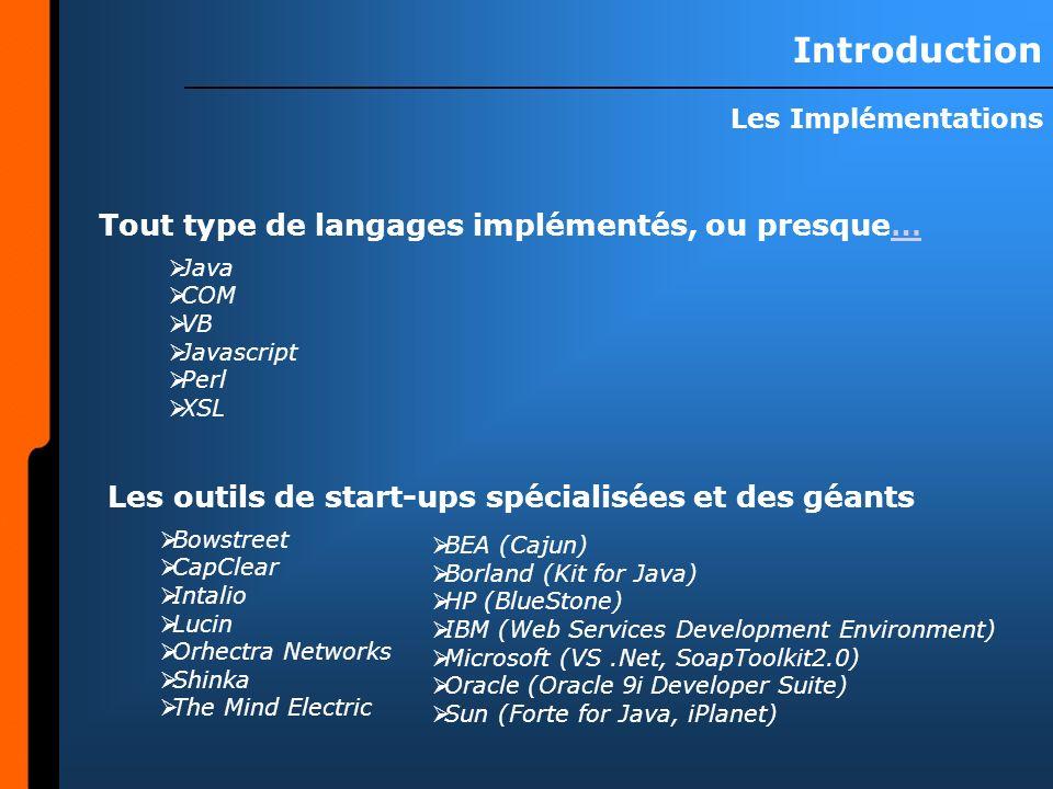 Introduction Tout type de langages implémentés, ou presque…