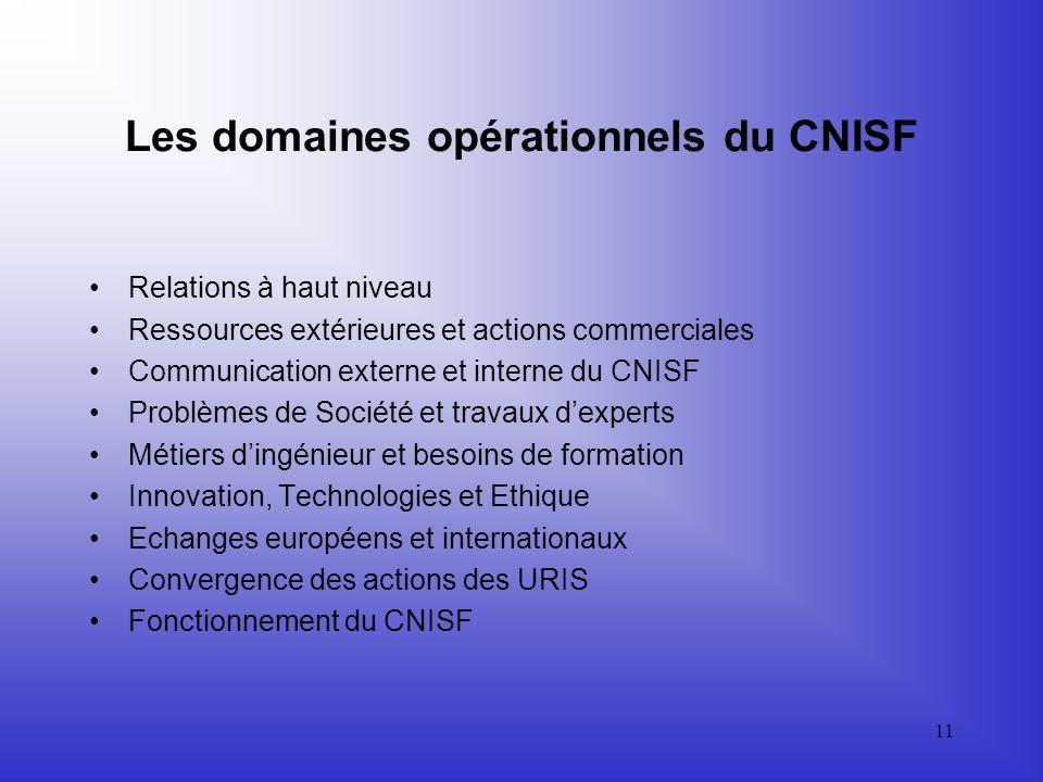 Les domaines opérationnels du CNISF