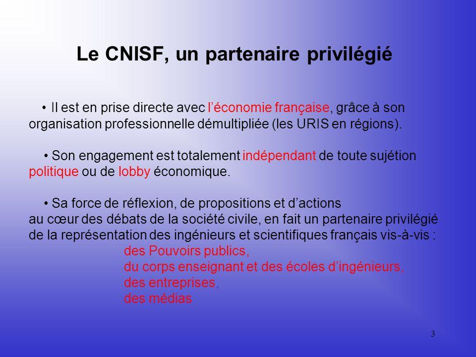 Le CNISF, un partenaire privilégié • Il est en prise directe avec l'économie française, grâce à son organisation professionnelle démultipliée (les URIS en régions).