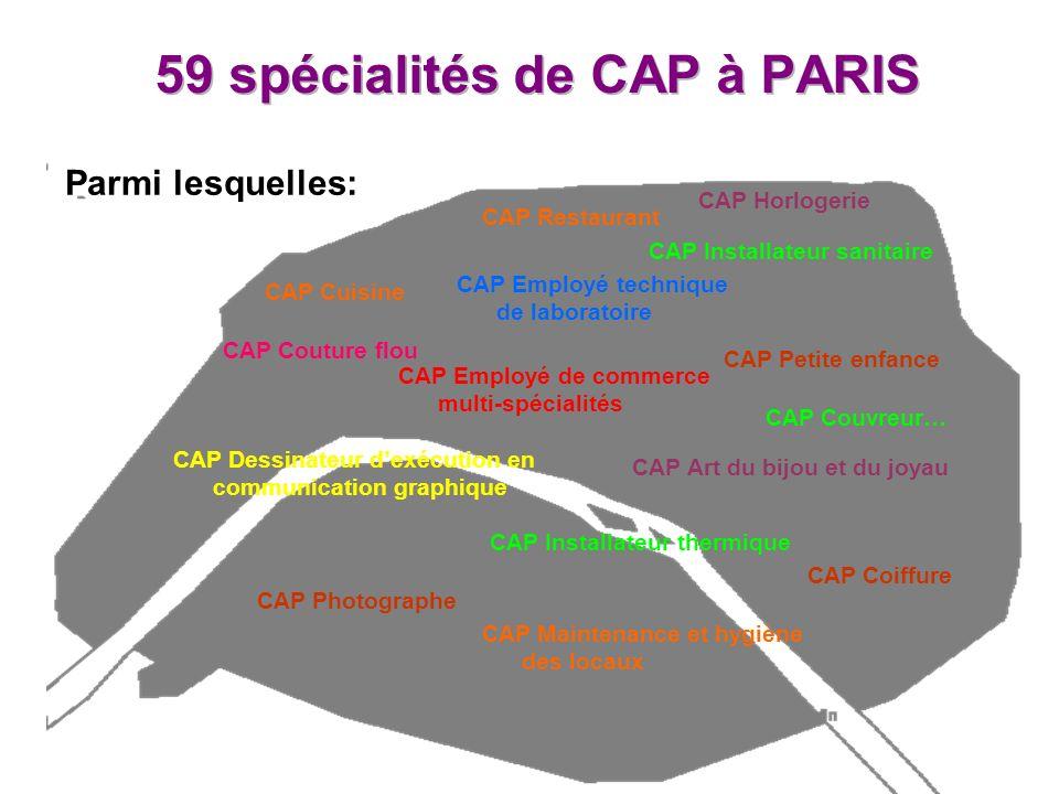59 spécialités de CAP à PARIS