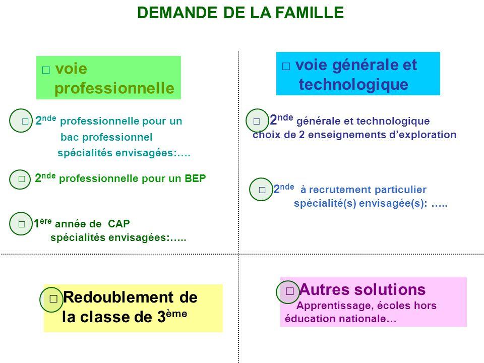 DEMANDE DE LA FAMILLE □ voie générale et □ voie technologique