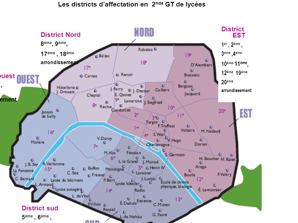 Les districts d'affectation en 2nde GT de lycées