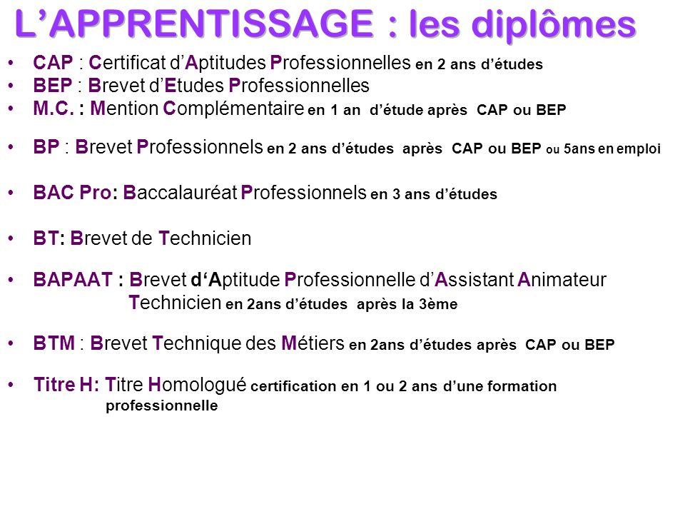 L'APPRENTISSAGE : les diplômes