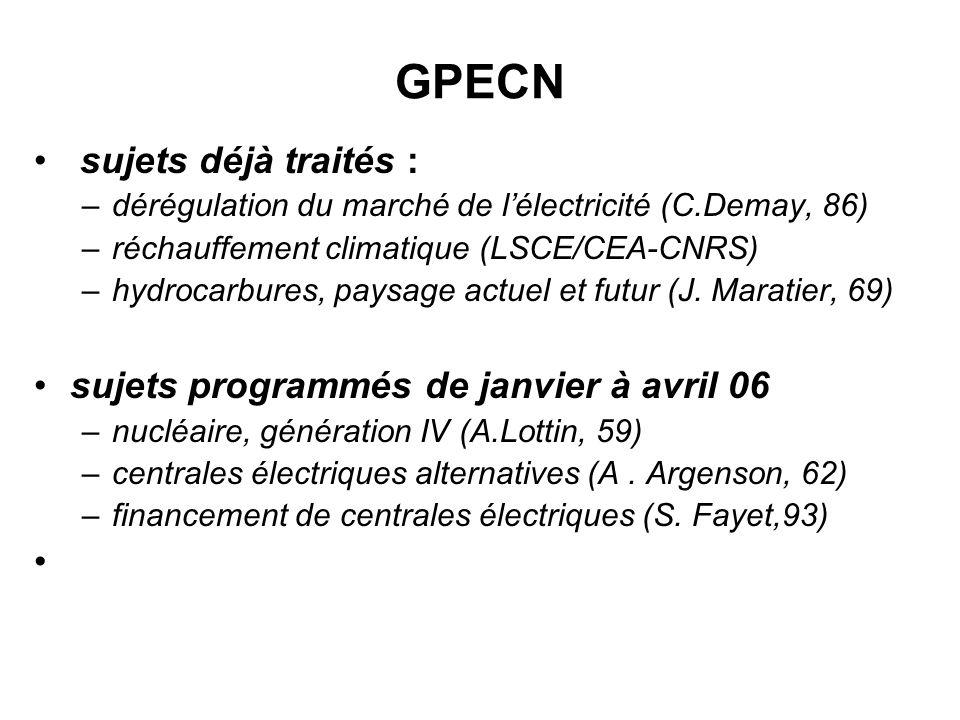 GPECN sujets déjà traités : sujets programmés de janvier à avril 06
