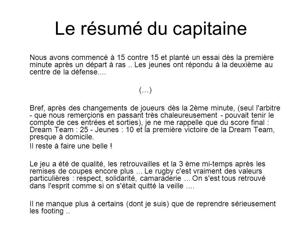 Le résumé du capitaine