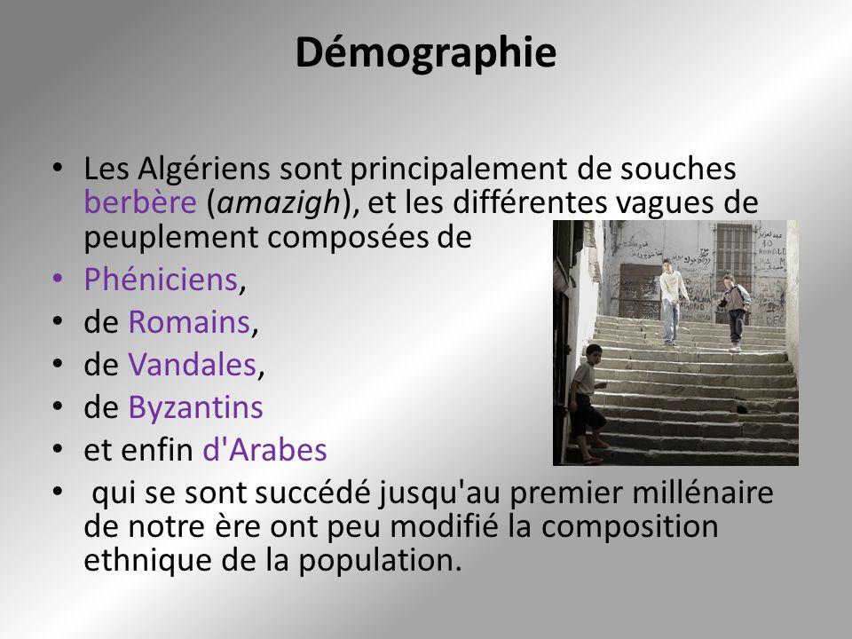 Démographie Les Algériens sont principalement de souches berbère (amazigh), et les différentes vagues de peuplement composées de.