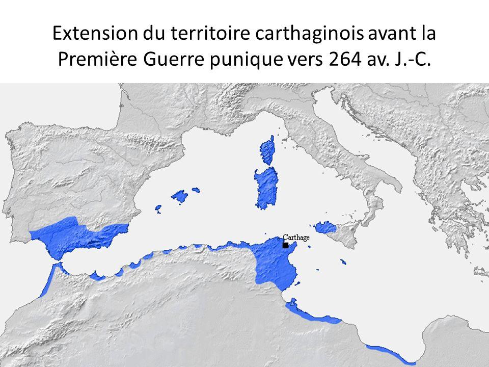 Extension du territoire carthaginois avant la Première Guerre punique vers 264 av. J.-C.