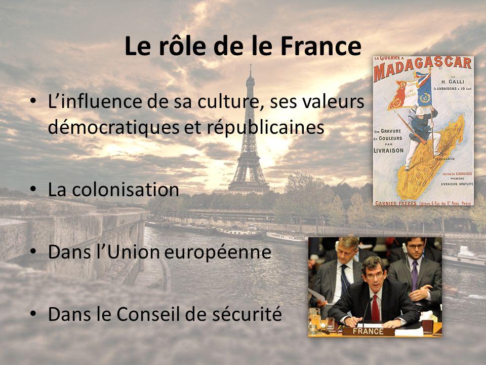 Le rôle de le France L'influence de sa culture, ses valeurs démocratiques et républicaines. La colonisation.
