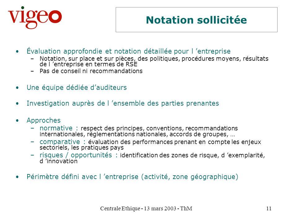 Centrale Ethique - 13 mars 2003 - ThM