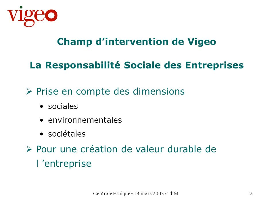 Champ d'intervention de Vigeo
