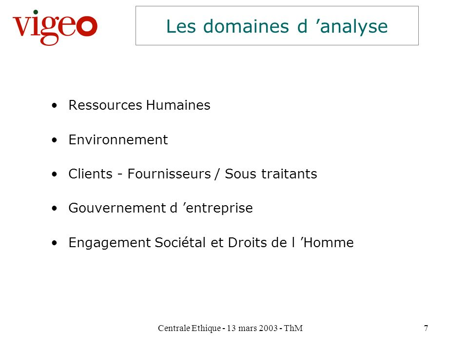 Les domaines d 'analyse