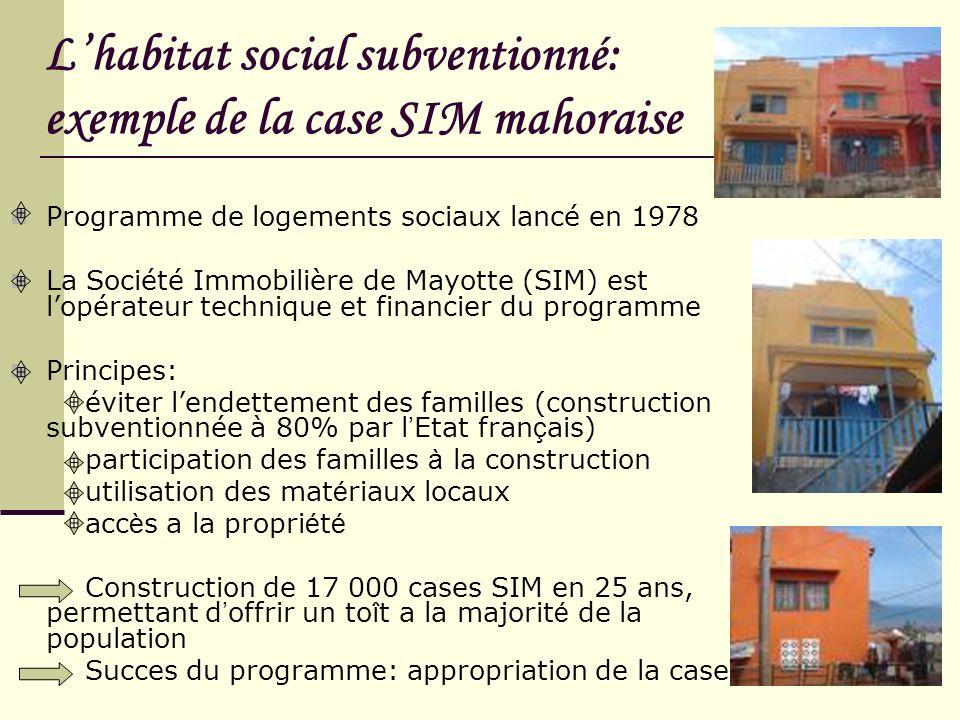 L'habitat social subventionné: exemple de la case SIM mahoraise