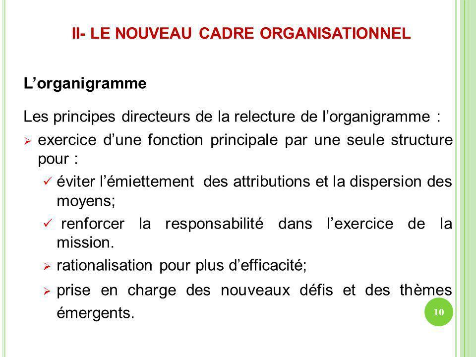 II- LE NOUVEAU CADRE ORGANISATIONNEL