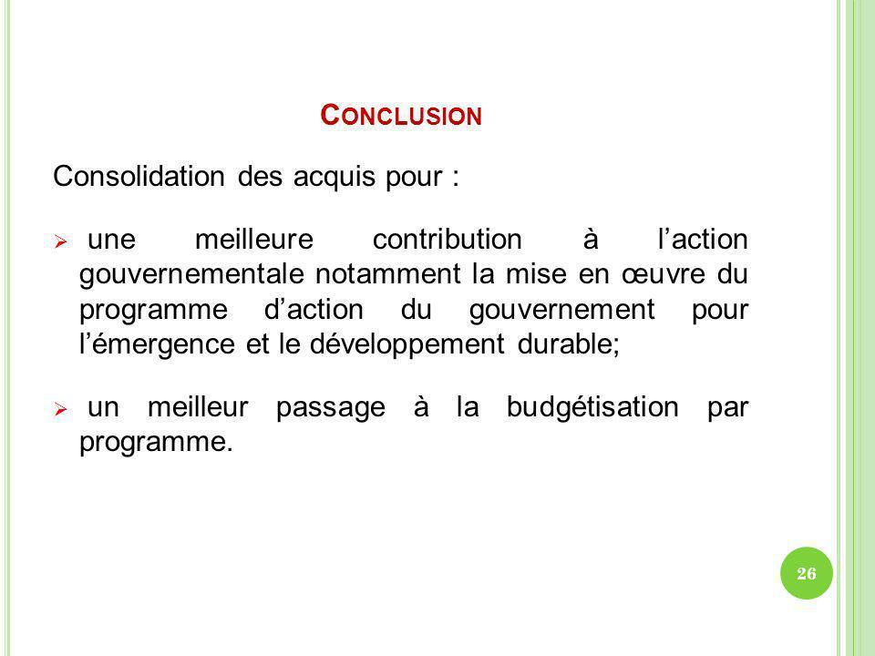 Conclusion Consolidation des acquis pour :